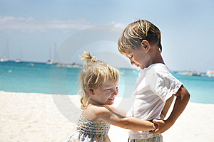 Brother And Sister On Sea Background Royalty Free Stock Photo - Image: 18482155
