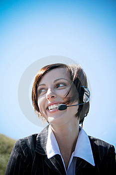 Young Caucasian Business Lady With Microphone Stock Photo - Image: 18491250