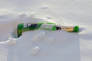 Bottle And Snow. Stock Photos - Image: 18491563