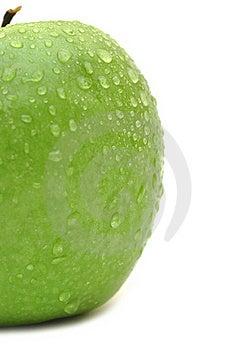 Wet Green Apple Closeup Stock Image - Image: 18492101