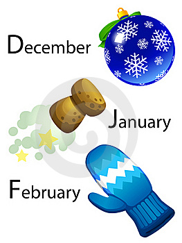 Winter Calendar - December, January, February Royalty Free Stock Image - Image: 18492546