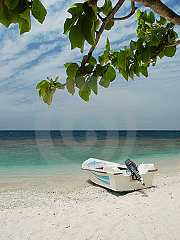 Beautiful Boat On Beach Under Blue Sky And Clouds Royalty Free Stock Image - Image: 18497436