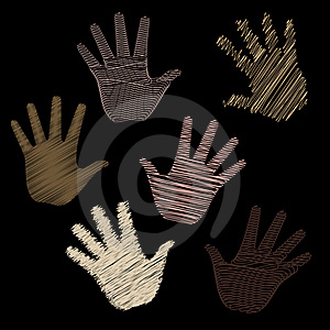 Six Scribbled Hands Stock Images - Image: 18499264