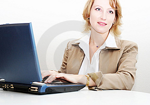 Woman Working On A Laptop Royalty Free Stock Image - Image: 1850786