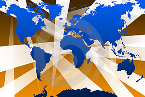 World Map With Beams Stock Photo - Image: 1856980