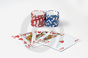 Royal Flush 7 Chips Poker Game Stock Photography - Image: 1859802