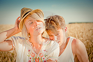 Image Of Young Man And Woman On Wheat Field Stock Photo - Image: 18500490