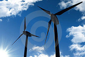 Wind Turbines On Blue Sky Royalty Free Stock Images - Image: 18500809