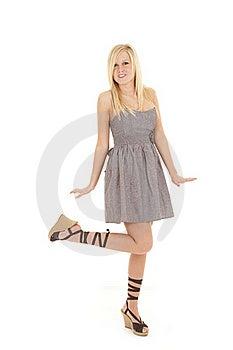 Woman Gray Dress Leg Up Royalty Free Stock Photo - Image: 18501095