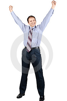 Cheerful Businessman With Hands Raised In Victory Royalty Free Stock Image - Image: 18505636