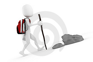 3d Man Tourist With A Big Red Backpack Stock Images - Image: 18506614