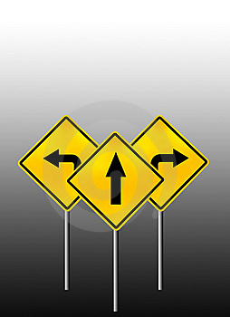 Signs Straight, Turn Left, Turn Right Royalty Free Stock Photo - Image: 18506825