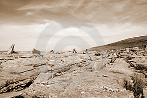 Sepia Rocks In Hilly Rocky Burren Landscape Stock Images - Image: 18507654