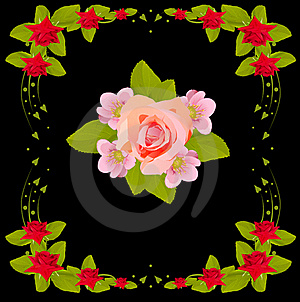 Pink Flower Design In Red Rose Frame Royalty Free Stock Photos - Image: 18509428
