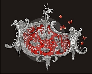 Red And Grey Royal Ornament Royalty Free Stock Photos - Image: 18514448