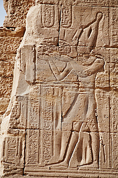 Egyptian Images And Hieroglyphs Engraved On Stone Stock Photography - Image: 18515132