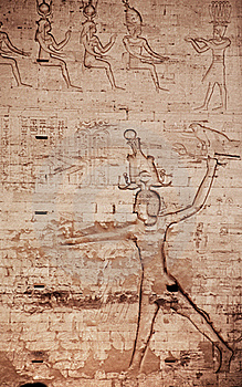 Egyptian Images And Hieroglyphs Engraved On Stone Stock Photos - Image: 18515133