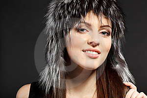 Female In Fur Hat Stock Photo - Image: 18521780