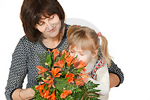 Enjoying The Smell Of Flowers Stock Photos - Image: 18522903