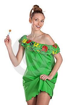 Young Joyful  Female In Summer Dress Royalty Free Stock Photos - Image: 18522938