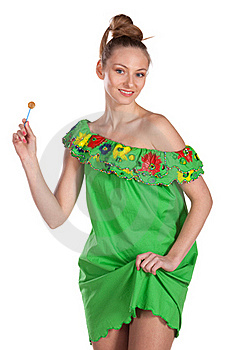 Young Joyful  Female In Summer Dress Royalty Free Stock Image - Image: 18522956