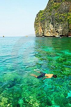 Happiness On Diving Mahya Bay (or Maya Bay) Royalty Free Stock Photo - Image: 18523045