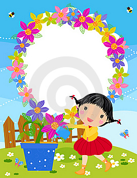 Small Girl Is Watering Plant In The Garden. Royalty Free Stock Photos - Image: 18523778