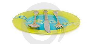 Flat Dish, Spoon, Knife, Fork Stock Image - Image: 18523781
