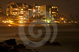 City At Night On The Coast Line Royalty Free Stock Photography - Image: 18527557