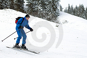 Skier Man In Mountains Royalty Free Stock Image - Image: 18531886