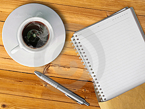 White Cup Of Hot Coffee And Blank Page Note Book Stock Photo - Image: 18532220