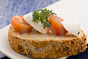 Sandwich With Tomatoe And Mozzarella Stock Photography - Image: 18534272