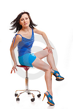 Woman Sitting On Chair Royalty Free Stock Photography - Image: 18534707