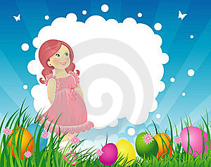 Easter Backgraund With Little Girl Royalty Free Stock Photo - Image: 18534815