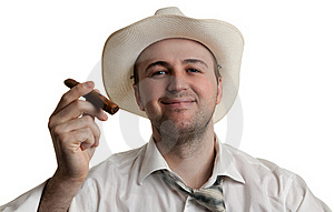 Man In A Hat With A Cigar Royalty Free Stock Photo - Image: 18545815