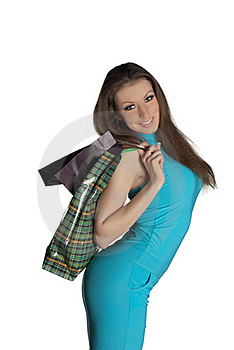 Girl With Purchases Stock Images - Image: 18547364