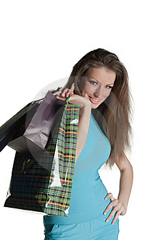 Girl With Purchases Royalty Free Stock Photos - Image: 18547368