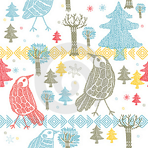Winter Forest With Birds Stock Photography - Image: 18553272