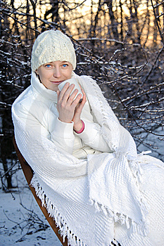Woman In The Winter Forest Royalty Free Stock Image - Image: 18556546