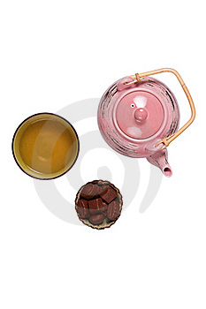 Composition With Tea Set Royalty Free Stock Photo - Image: 18558875