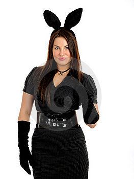 Pretty Seductive Brunette Girl With Bunny Ears Royalty Free Stock Photos - Image: 18560688