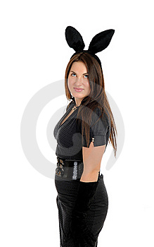 Pretty Seductive Brunette Girl With Bunny Ears Stock Image - Image: 18560711