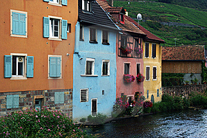 Alsatian Colorful Houses  By The River Royalty Free Stock Photography - Image: 18566657