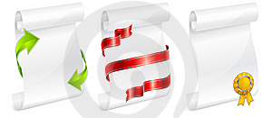 Scroll White Paper With Ribbon Stock Photography - Image: 18572202