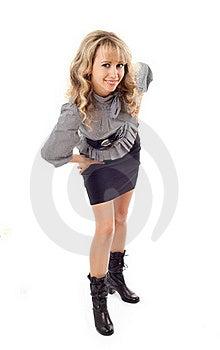 The Girl Has Bent Forward Royalty Free Stock Photo - Image: 18580555