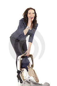 Woman Dropped Her Suitcase Royalty Free Stock Image - Image: 18585586