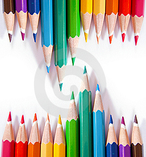 Color Pencils On White Background Royalty Free Stock Image - Image: 18586146