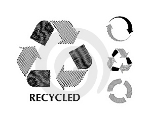 Black And White Recycle Symbol In Sketch Royalty Free Stock Photo - Image: 18589815