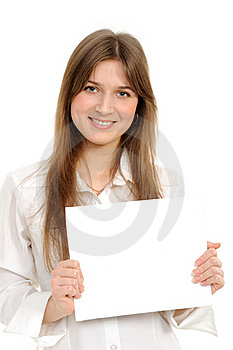 Woman Holding Empty White Board Royalty Free Stock Image - Image: 18591156