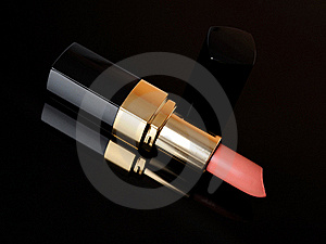 Luxury Pink Lipstick On Black Background. Make-up Royalty Free Stock Image - Image: 18594716